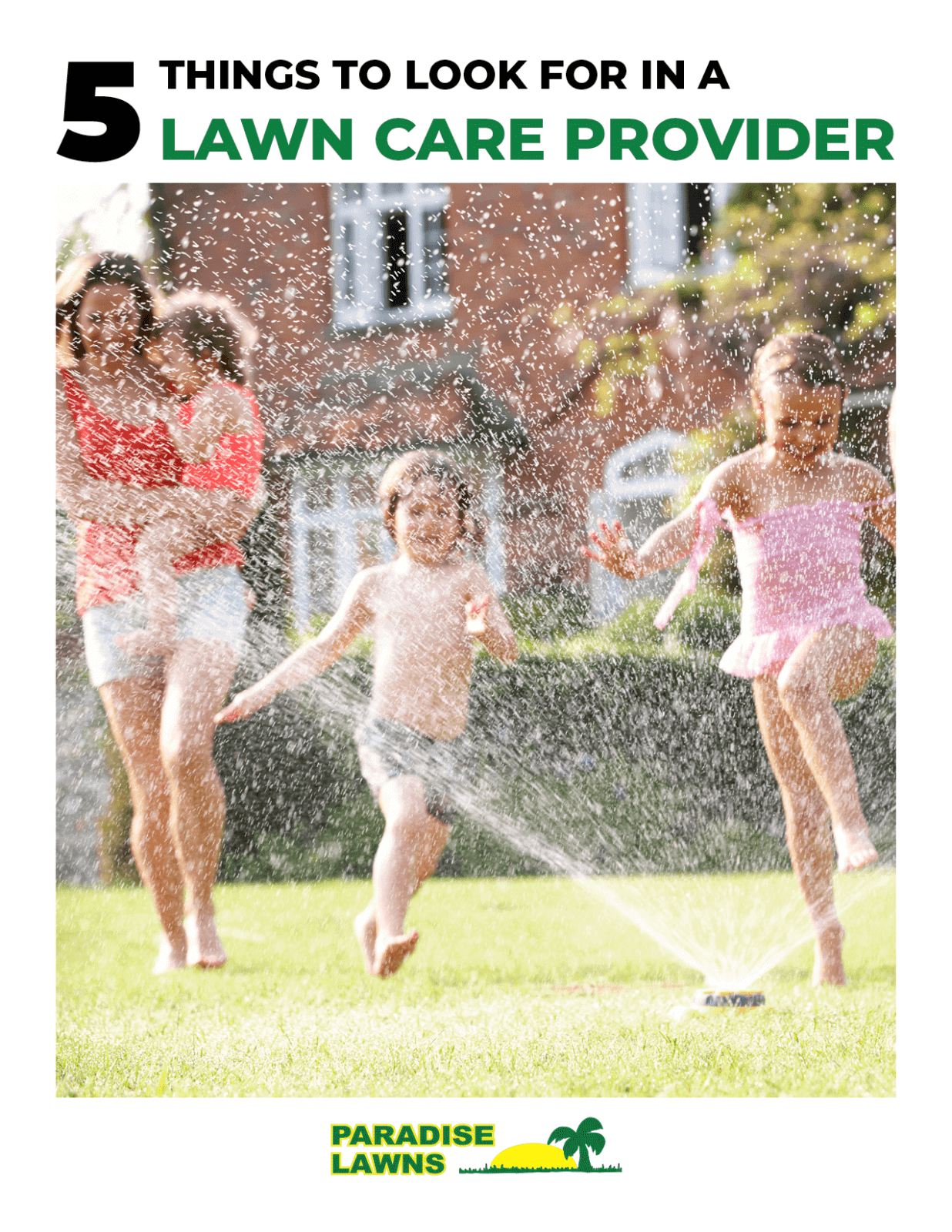 "Cover of ""5 things to look for in a lawn care provider"" eBook from Paradise Lawns"