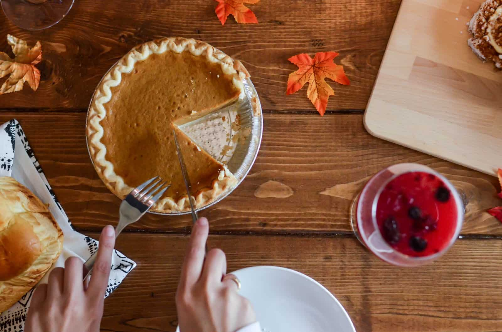 Thanksgiving traditions like pumpkin pie for dessert